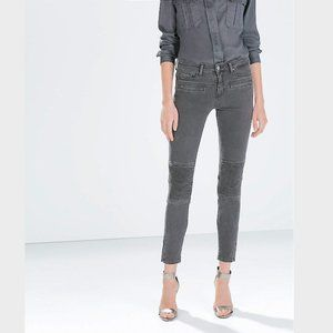 Zara Faded Black Denim Moto Biker Slim Fit Jeans 6